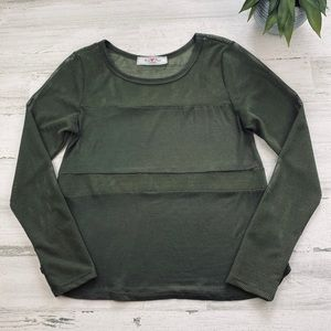 Green mesh long sleeve tee size M